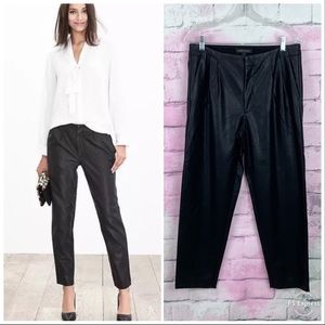 Banana Republic Faux Leather Black Pleated Pants 4